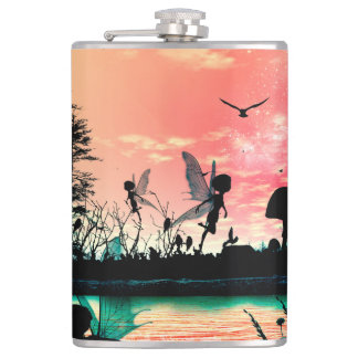 Cute fairies and birds flying in the sunset hip flask