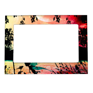 Cute fairies and birds flying in the sunset magnetic picture frames