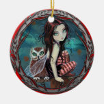Cute Fairy and Owl Fantasy Art Ornaments