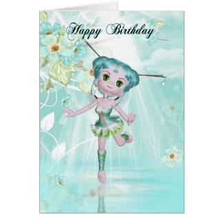 cute fairy birthday greeting card aqua colors