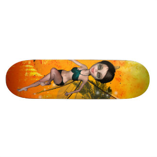 Cute fairy flying over the sea 21.3 cm mini skateboard deck