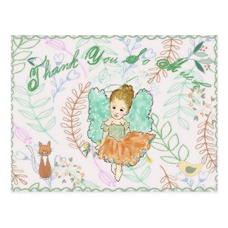 Cute Fairy Girl with Wand thank you card
