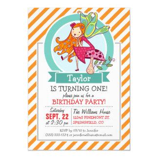 "Cute Fairy on Mushroom; Orange & White Stripes 5"" X 7"" Invitation Card"