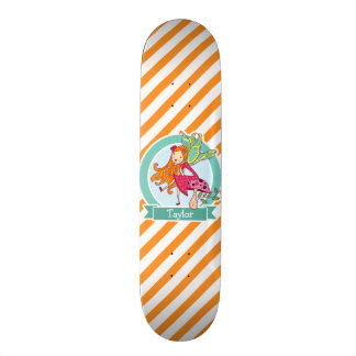 Cute Fairy on Mushroom; Orange & White Stripes Skateboard Decks