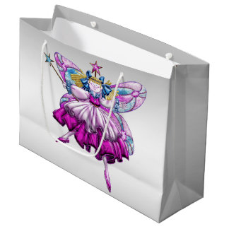 Cute Fairy on Silver Large Gift Bag