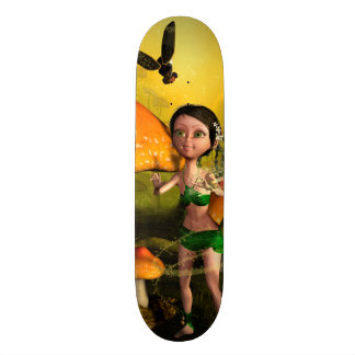Cute fairy playing with a firefly skate boards