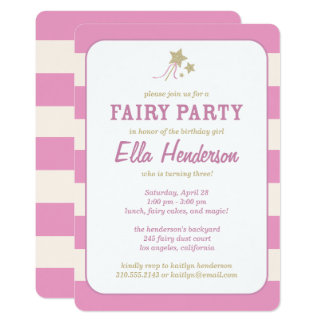 Cute Fairy Princess Birthday Party Invitations
