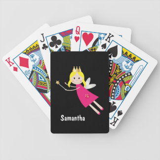 Cute fairy princess stars custom girls name bicycle playing cards