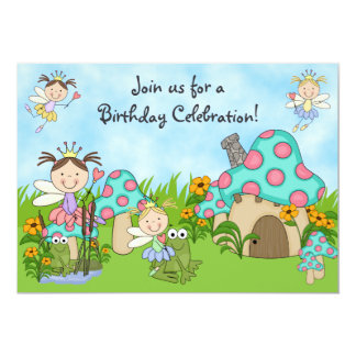 Cute Fairy Princesses and Frogs Birthday Party 13 Cm X 18 Cm Invitation Card