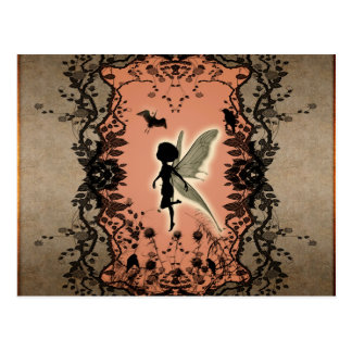 Cute fairy silhouette with glowing shine, postcard