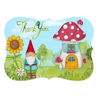 Cute Fairy Tale Elf Gnome and Mushroom Thank You Card