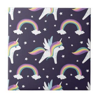 Cute Fairy Unicorn + rainbows blue background Ceramic Tile