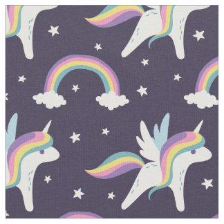Cute Fairy Unicorn + rainbows blue background Fabric
