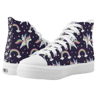 Cute Fairy Unicorn + rainbows blue background High Tops