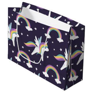 Cute Fairy Unicorn + rainbows blue background Large Gift Bag