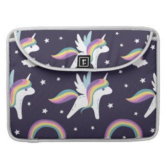 Cute Fairy Unicorn + rainbows blue background Sleeve For MacBook Pro