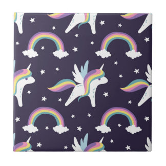 Cute Fairy Unicorn + rainbows blue background Small Square Tile