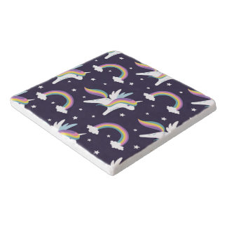 Cute Fairy Unicorn + rainbows blue background Trivet