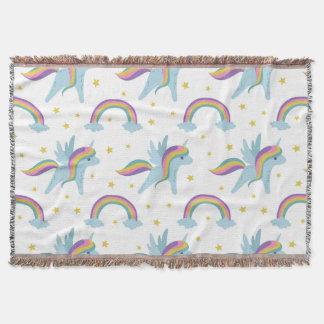 Cute Fairy Unicorn + rainbows white background