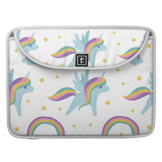 Cute Fairy Unicorn + rainbows white background Sleeve For MacBook Pro