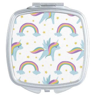 Cute Fairy Unicorn + rainbows white background Vanity Mirror
