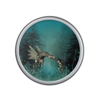 Cute fairy with steam dragon in a fantasy forest bluetooth speaker