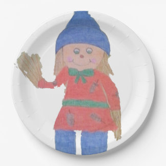 Cute Fall Scarecrow Paper Plate