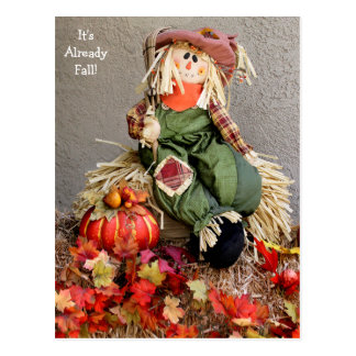Cute Fall Scarecrow with Pumpkin Postcard