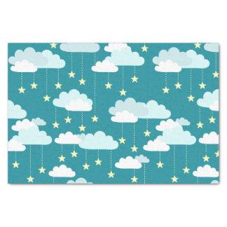 Cute Falling Stars & Clouds Pattern Tissue Paper