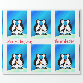 Cute Family of Penguins Christmas Wrapping Paper
