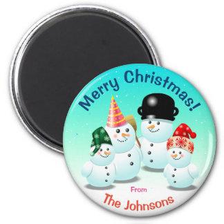 Cute Family Of Snowmen 6 Cm Round Magnet