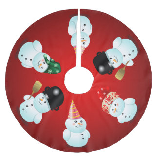 Cute Family of Snowmen Brushed Polyester Tree Skirt