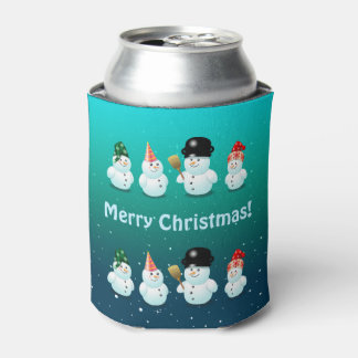 Cute Family Of Snowmen Can Cooler
