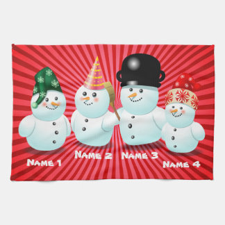 Cute Family Of Snowmen Customizable Cartoon Tea Towel