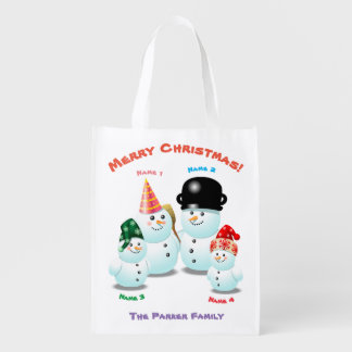 Cute Family Of Snowmen Reusable Grocery Bag
