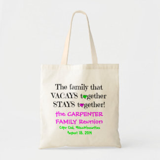 Cute Family Reunion Totes, Lime & Hot Pink