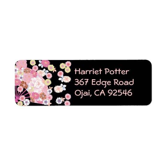 Cute Fan & Flowers Japanese Floral Fine Art Return Address Label