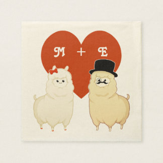 Cute Fancy Alpaca Couple Disposable Napkin