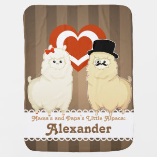 Cute Fancy Alpaca Couple with text option Baby Blanket
