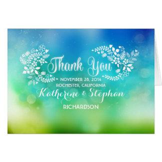 Cute & fancy floral hearts wedding thank you card