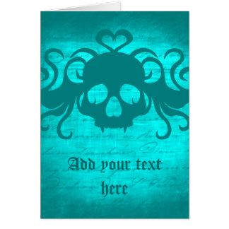 Cute fanged vampire skull aqua teal version card