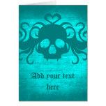 Cute fanged vampire skull aqua teal version greeting card