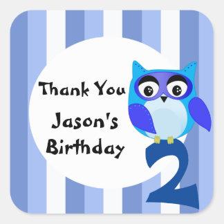 Cute fantasy blue owl birthday thank you square sticker