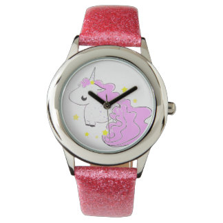 Cute fantasy unicorn with stars wristwatches