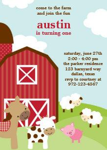 farm animal birthday invitations zazzle com au