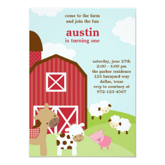 Cute Farm Animal Birthday Invitations
