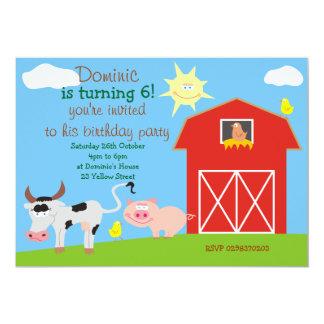 Cute Farm Animals Birthday Party Invitations