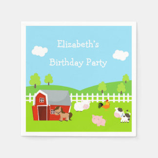 Cute Farm Animals Disposable Napkin