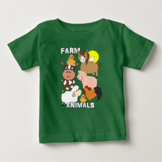 Cute Farm Animals Kids Whimsy Graphic Baby T-Shirt
