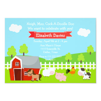 Cute Farm Animals Unisex Birthday Party Card